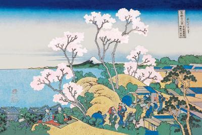 Cherry Blossom Festival-Katsushika Hokusai-Stretched Canvas Print