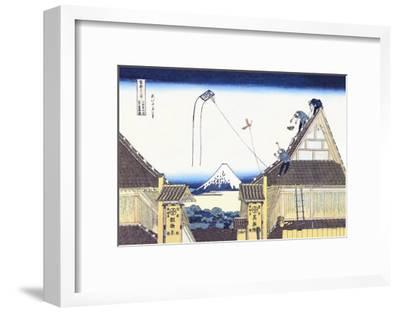 Kite Flying from Rooftop-Katsushika Hokusai-Framed Art Print
