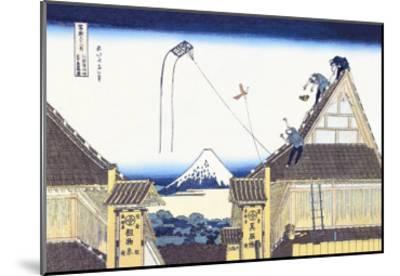 Kite Flying from Rooftop-Katsushika Hokusai-Mounted Art Print