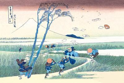 Wind Buffets Travelers in View of Mount Fuji-Katsushika Hokusai-Stretched Canvas Print