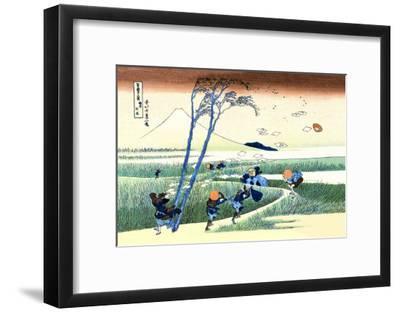 Wind Buffets Travelers in View of Mount Fuji-Katsushika Hokusai-Framed Art Print