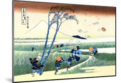 Wind Buffets Travelers in View of Mount Fuji-Katsushika Hokusai-Mounted Art Print
