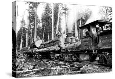 Logging Train-Clark Kinsey-Stretched Canvas Print