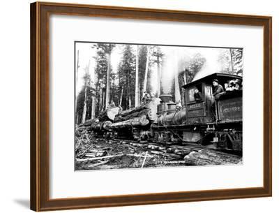 Logging Train-Clark Kinsey-Framed Art Print
