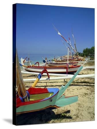 Prahu, Colourful Local Boats, on Sanur Beach, Bali, Indonesia-Robert Harding-Stretched Canvas Print
