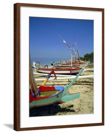 Prahu, Colourful Local Boats, on Sanur Beach, Bali, Indonesia-Robert Harding-Framed Photographic Print