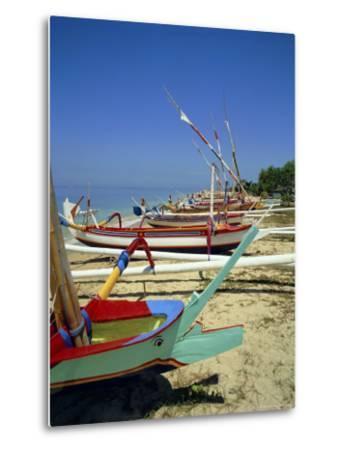 Prahu, Colourful Local Boats, on Sanur Beach, Bali, Indonesia-Robert Harding-Metal Print