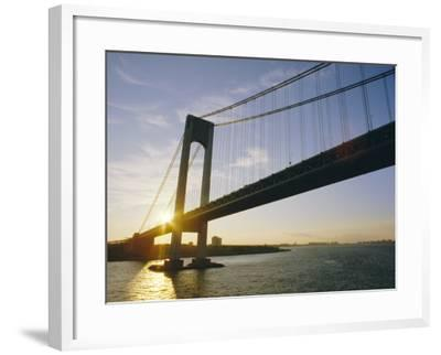 Verrazano Narrows Bridge, Approach to the City, New York, New York State, USA-Ken Gillham-Framed Photographic Print