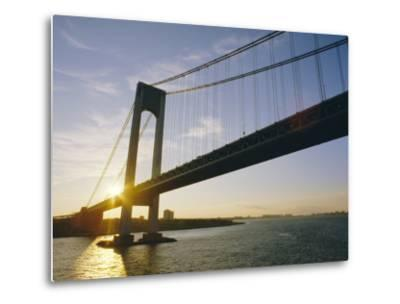 Verrazano Narrows Bridge, Approach to the City, New York, New York State, USA-Ken Gillham-Metal Print