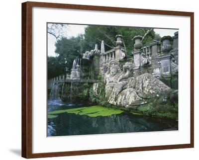 Fountains in the Gardens of the Villa Lante, Bagnaia, Lazio, Italy, Europe-Michael Newton-Framed Photographic Print