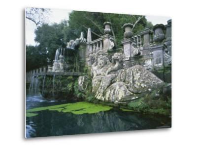 Fountains in the Gardens of the Villa Lante, Bagnaia, Lazio, Italy, Europe-Michael Newton-Metal Print