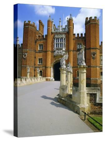 The Queen's Beasts on the Bridge Leading to Hampton Court Palace, Hampton Court, London, England-Walter Rawlings-Stretched Canvas Print