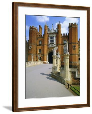 The Queen's Beasts on the Bridge Leading to Hampton Court Palace, Hampton Court, London, England-Walter Rawlings-Framed Photographic Print