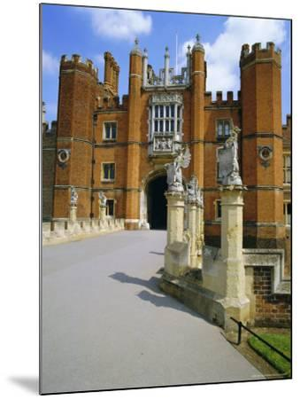 The Queen's Beasts on the Bridge Leading to Hampton Court Palace, Hampton Court, London, England-Walter Rawlings-Mounted Photographic Print