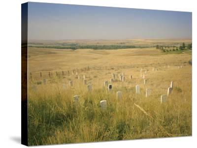 Custer's Last Stand Battlefield, Custer's Grave Site Marked by Dark Shield on Stone, Montana, USA-Geoff Renner-Stretched Canvas Print