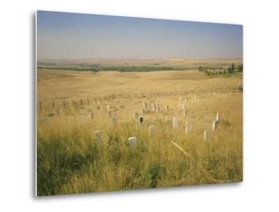 Custer's Last Stand Battlefield, Custer's Grave Site Marked by Dark Shield on Stone, Montana, USA-Geoff Renner-Metal Print