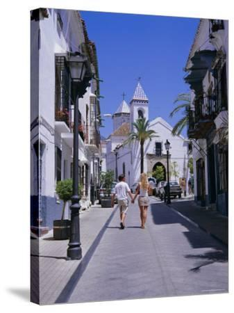 Street and Church in the Old Town, Marbella, Costa Del Sol, Andalucia (Andalusia), Spain, Europe-Gavin Hellier-Stretched Canvas Print