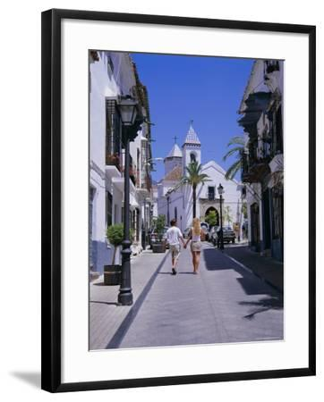 Street and Church in the Old Town, Marbella, Costa Del Sol, Andalucia (Andalusia), Spain, Europe-Gavin Hellier-Framed Photographic Print