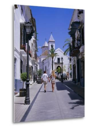 Street and Church in the Old Town, Marbella, Costa Del Sol, Andalucia (Andalusia), Spain, Europe-Gavin Hellier-Metal Print