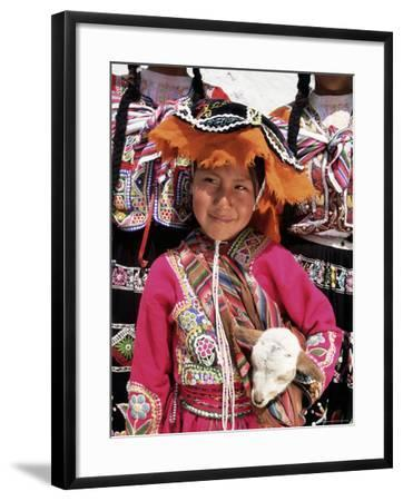 Portrait of a Local Smiling Peruvian Girl in Traditional Dress, Holding a Young Animal, Cuzco, Peru-Gavin Hellier-Framed Photographic Print