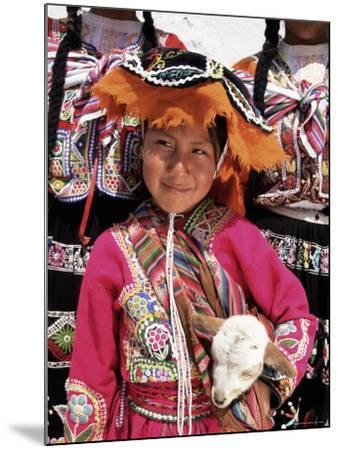 Portrait of a Local Smiling Peruvian Girl in Traditional Dress, Holding a Young Animal, Cuzco, Peru-Gavin Hellier-Mounted Photographic Print