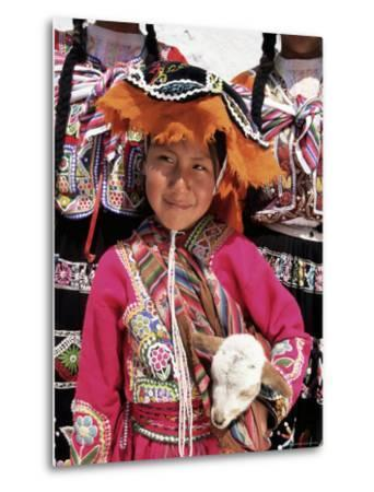 Portrait of a Local Smiling Peruvian Girl in Traditional Dress, Holding a Young Animal, Cuzco, Peru-Gavin Hellier-Metal Print