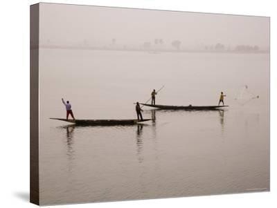 Fishing on the River Niger, Niger Inland Delta, Segou Region, Mali, West Africa, Africa-Gavin Hellier-Stretched Canvas Print