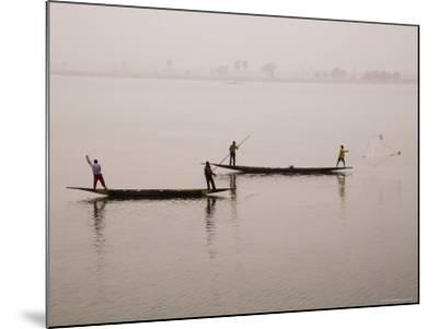Fishing on the River Niger, Niger Inland Delta, Segou Region, Mali, West Africa, Africa-Gavin Hellier-Mounted Photographic Print