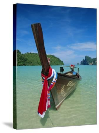 Typical Long Tail Boat, Ao Dalam Bay, Phi-Phi Don Island, Krabi Province, Thailand, Asia-Gavin Hellier-Stretched Canvas Print