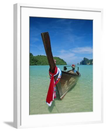 Typical Long Tail Boat, Ao Dalam Bay, Phi-Phi Don Island, Krabi Province, Thailand, Asia-Gavin Hellier-Framed Photographic Print