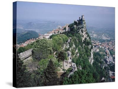 Castle Atop Mountain Peak, San Marino Republic-Gavin Hellier-Stretched Canvas Print