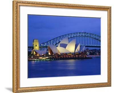 Opera House and Sydney Harbour Bridge, Sydney, New South Wales, Australia-Gavin Hellier-Framed Photographic Print