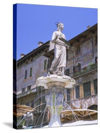 Fountain in Piazza Delle Erbe, Verona, Unesco World Heritage Site, Veneto, Italy, Europe-Gavin Hellier-Stretched Canvas Print