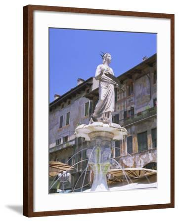 Fountain in Piazza Delle Erbe, Verona, Unesco World Heritage Site, Veneto, Italy, Europe-Gavin Hellier-Framed Photographic Print