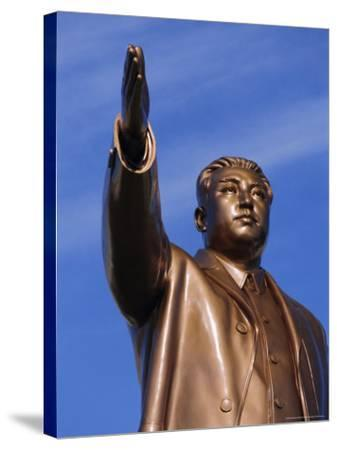 Bronze Statue, 30M High, of Great Leader, Mansudae Hill Grand Monument, Pyongyang, North Korea-Anthony Waltham-Stretched Canvas Print