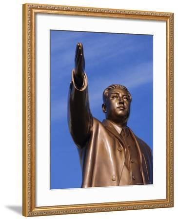 Bronze Statue, 30M High, of Great Leader, Mansudae Hill Grand Monument, Pyongyang, North Korea-Anthony Waltham-Framed Photographic Print