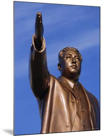Bronze Statue, 30M High, of Great Leader, Mansudae Hill Grand Monument, Pyongyang, North Korea-Anthony Waltham-Mounted Photographic Print