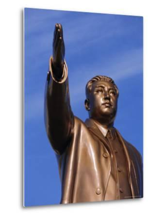 Bronze Statue, 30M High, of Great Leader, Mansudae Hill Grand Monument, Pyongyang, North Korea-Anthony Waltham-Metal Print