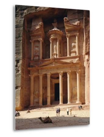 The Treasury, Rock Cut Building Dating from Nabatean Times, Petra, Jordan-G Richardson-Metal Print