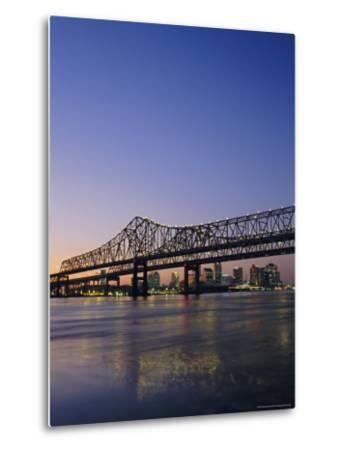 Mississippi River Bridge, New Orleans, Louisiana, USA-Charles Bowman-Metal Print