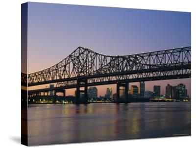 Mississippi River Bridge, New Orleans, Louisiana, USA-Charles Bowman-Stretched Canvas Print
