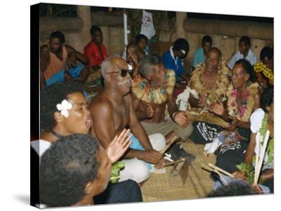 Villagers Singing at Cava Evening, Waya Island, Yasawa Group, Fiji, South Pacific Islands, Pacific-Julia Bayne-Stretched Canvas Print