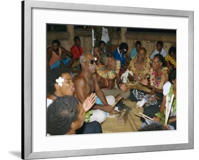 Villagers Singing at Cava Evening, Waya Island, Yasawa Group, Fiji, South Pacific Islands, Pacific-Julia Bayne-Framed Photographic Print