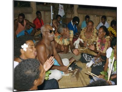 Villagers Singing at Cava Evening, Waya Island, Yasawa Group, Fiji, South Pacific Islands, Pacific-Julia Bayne-Mounted Photographic Print