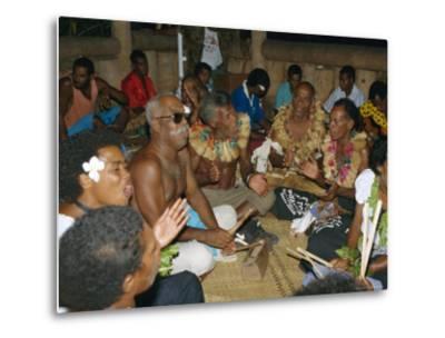 Villagers Singing at Cava Evening, Waya Island, Yasawa Group, Fiji, South Pacific Islands, Pacific-Julia Bayne-Metal Print