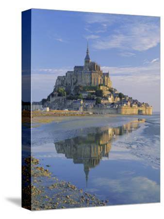 Mont St. Michel (Mont Saint-Michel) Reflected in Water, Manche, Normandy, France, Europe-Ruth Tomlinson-Stretched Canvas Print
