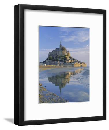 Mont St. Michel (Mont Saint-Michel) Reflected in Water, Manche, Normandy, France, Europe-Ruth Tomlinson-Framed Photographic Print