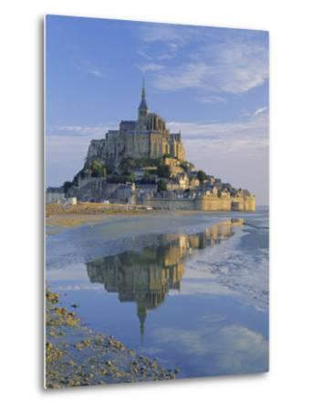 Mont St. Michel (Mont Saint-Michel) Reflected in Water, Manche, Normandy, France, Europe-Ruth Tomlinson-Metal Print