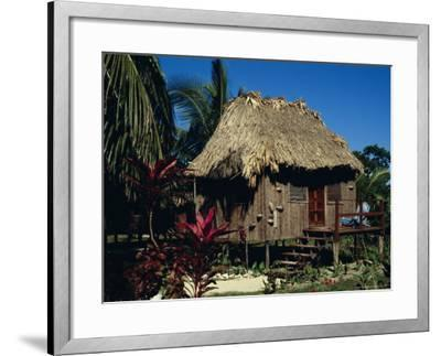 Typical Thatched Wooden Hut on the Island, Caye Caulker, Belize, Central America-Christopher Rennie-Framed Photographic Print