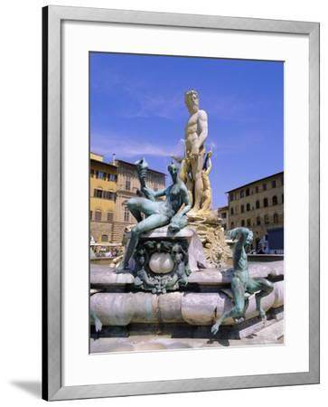 Neptune Fountain, Piazza d'Signoria, Florence, Tuscany, Italy-Hans Peter Merten-Framed Photographic Print